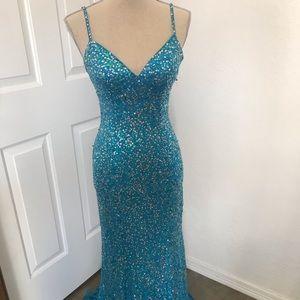 1990s VTG Alyce Designs Blue Sequin Mermaid Dress
